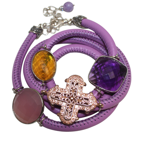Lavender Italian Wrap Leather Bracelet With Pink Chalcedony, Amethyst & Citrine Quartz, and Cross - DIDAJ