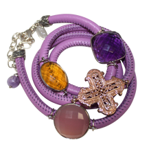 Load image into Gallery viewer, Lavender Italian Wrap Leather Bracelet With Pink Chalcedony, Amethyst & Citrine Quartz, and Cross - DIDAJ