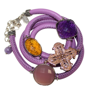 Lavender Italian Wrap Leather Bracelet With Faceted Pink Chalcedony, Amethyst & Citrine Quartz, and Cross