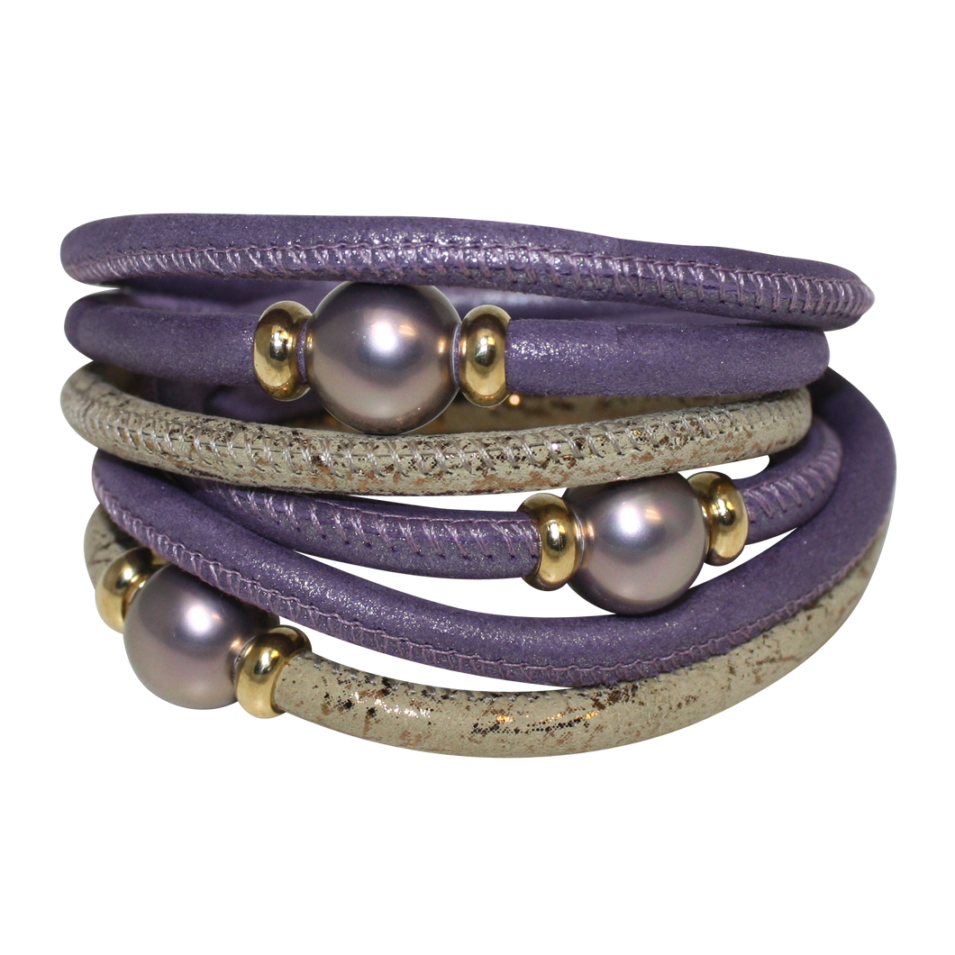 Lavender Pearl & Gold Italian Wrap Leather Bracelet With Purple Mother of Pearl