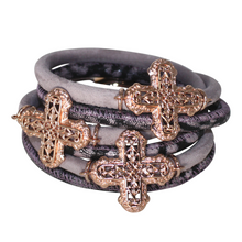 Load image into Gallery viewer, Lavender Purple Snake Italian Wrap Leather Bracelet With Rose Gold Plated Crosses