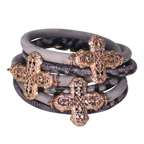 Lavender Purple Snake Italian Wrap Leather Bracelet With Rose Gold Plated Crosses
