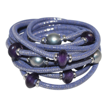Load image into Gallery viewer, Lavender & Silver Italian Wrap Leather Bracelet With Amethyst & Grey Mother of Pearl