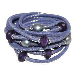 Lavender & Silver Italian Wrap Leather Bracelet With Amethyst & Grey Mother of Pearl