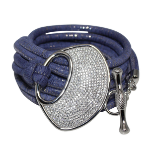 Lavender & Silver Italian Wrap Leather Bracelet With CZ Buckle