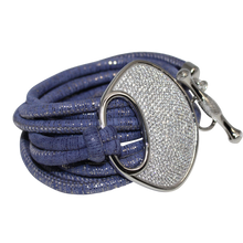 Load image into Gallery viewer, Lavender & Silver Italian Wrap Leather Bracelet With CZ Buckle