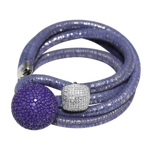 Lavender & Silver Italian Wrap Leather Bracelet With CZ Slider & Purple Stingray Sphere - DIDAJ