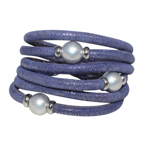 Lavender & Silver Italian Wrap Leather Bracelet With Grey Mother of Pearl