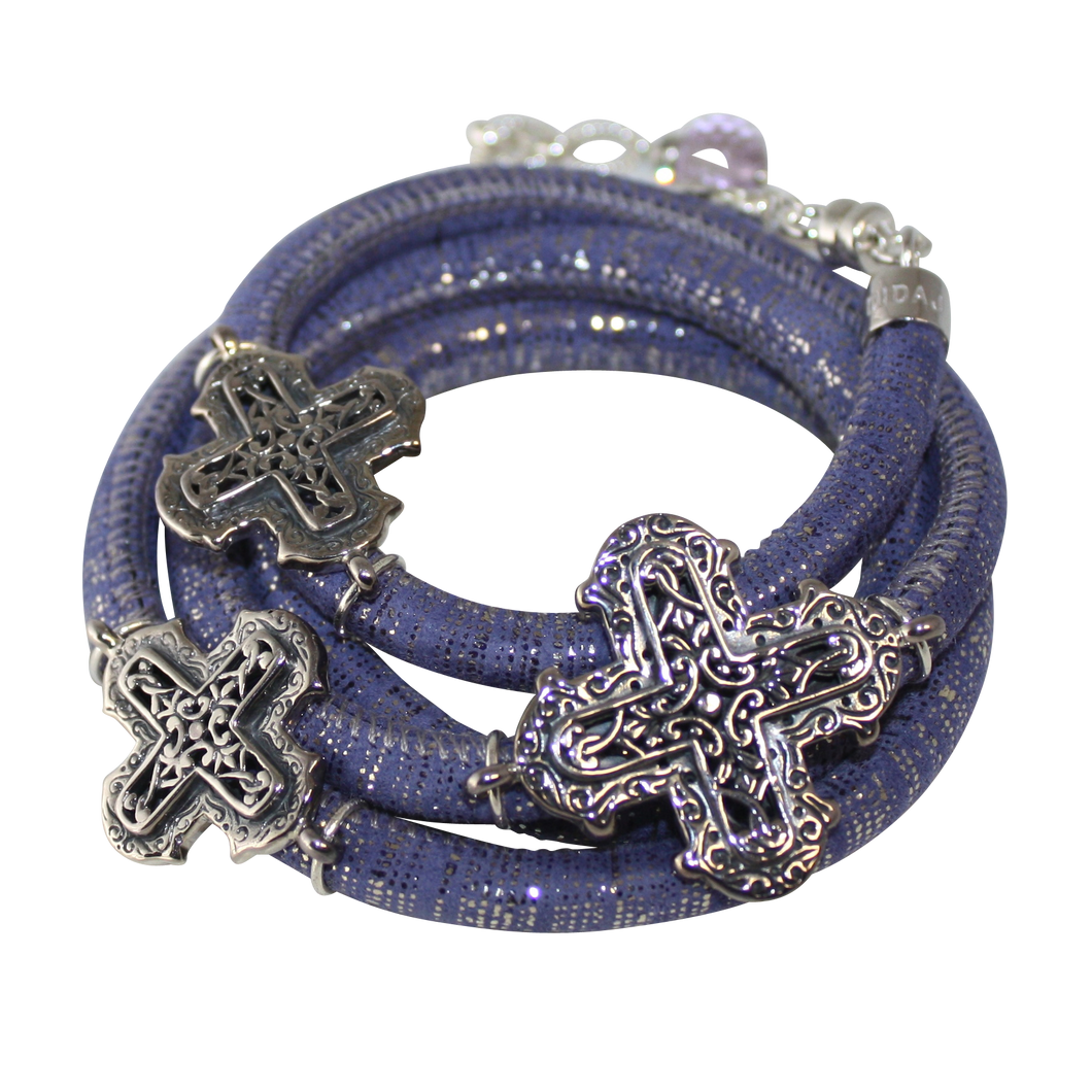 Lavender & Silver Italian Wrap Leather Bracelet With Sterling Silver Crosses - DIDAJ