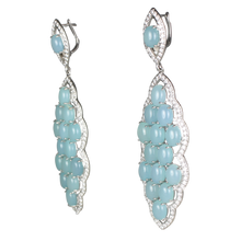 Load image into Gallery viewer, Long Aqua Chalcedony Cabochon Earrings - DIDAJ