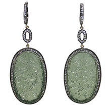 Load image into Gallery viewer, Long Curved Green Jade Earrings