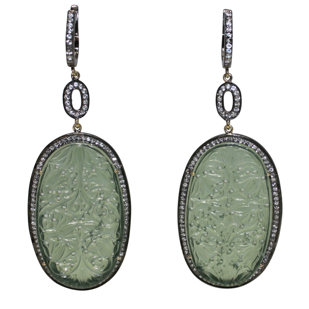 Long Curved Green Jade Earrings