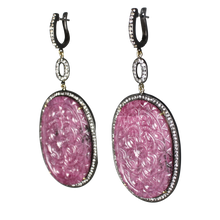Load image into Gallery viewer, Long Curved Ruby Earrings