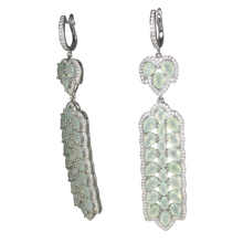 Load image into Gallery viewer, Long Faceted Aqua Mint Chalcedony Earrings - DIDAJ