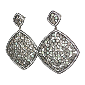 Faceted Labradorite Pave Earrings - DIDAJ