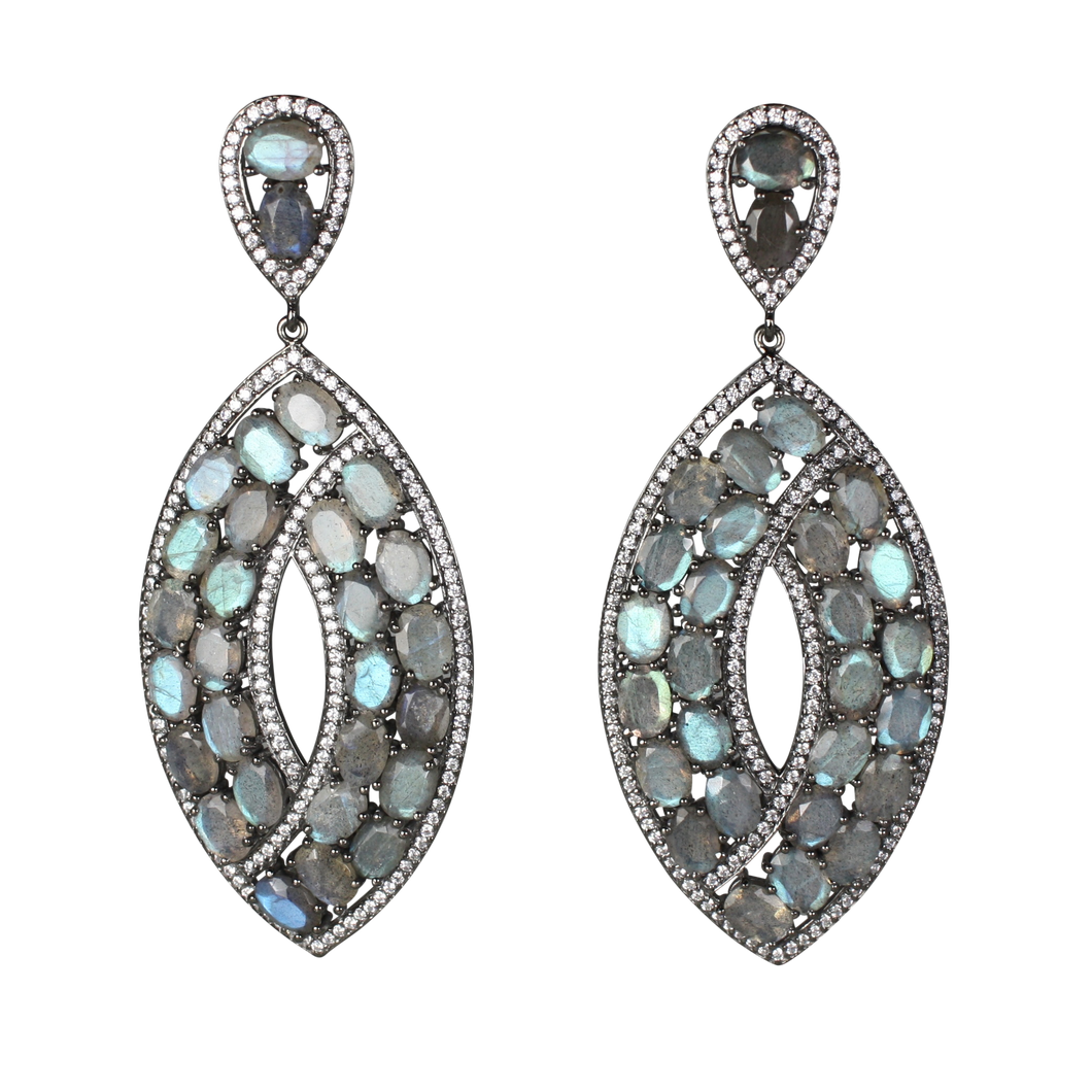Long Faceted Labradorite Earrings - DIDAJ