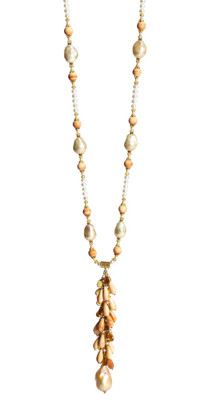 Long Italian Carniola, Faceted Citrine and Baroque Pearl Necklace with Stunning Long Grape Pendant
