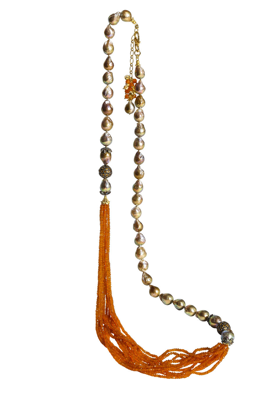 Long Multi-Strand Faceted Carnelian Necklace with Natural Baroque Pearl, Citrine and Multi-Color Sapphire Accents