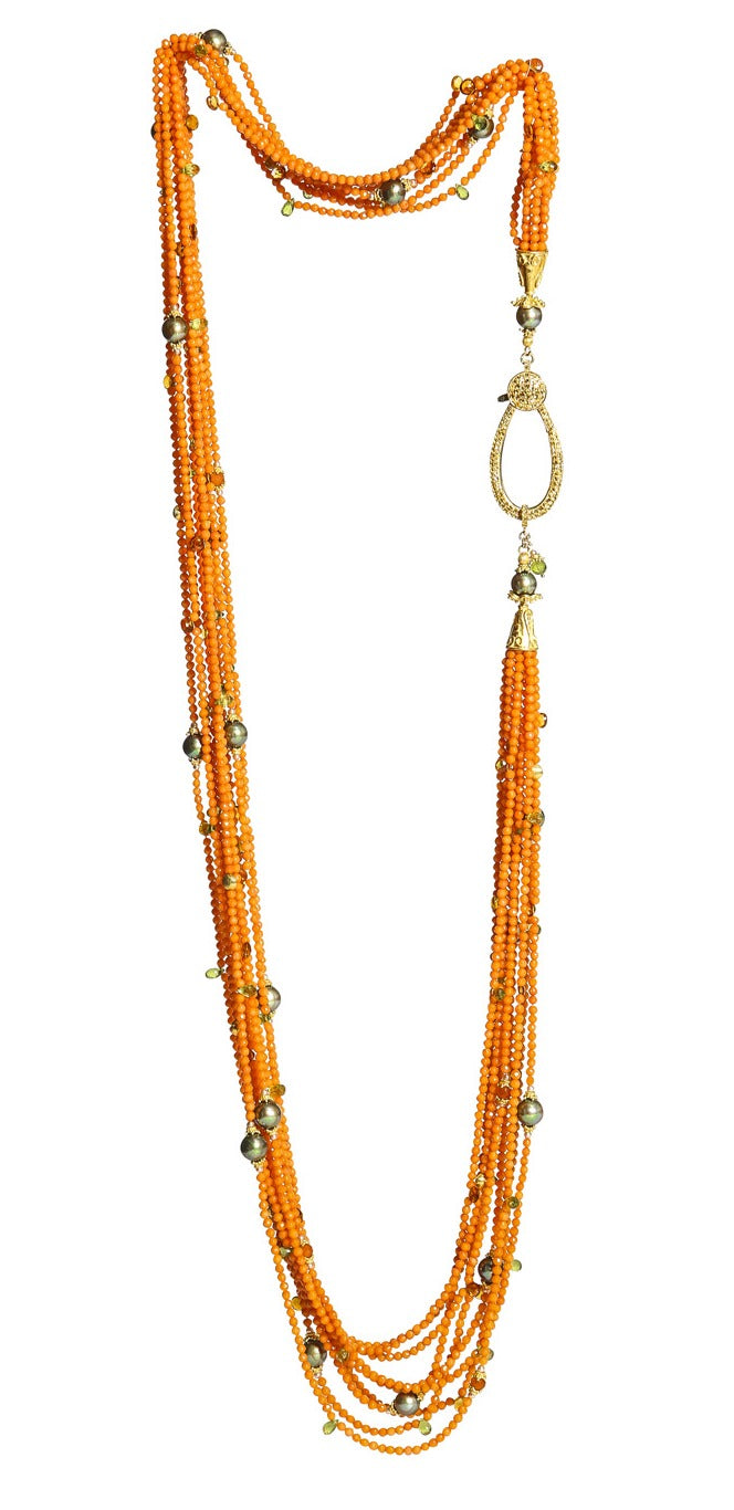 Long Multi-Strand Faceted Coral Necklace with Citrine, Peridot, Carnelian and Pearl Accents