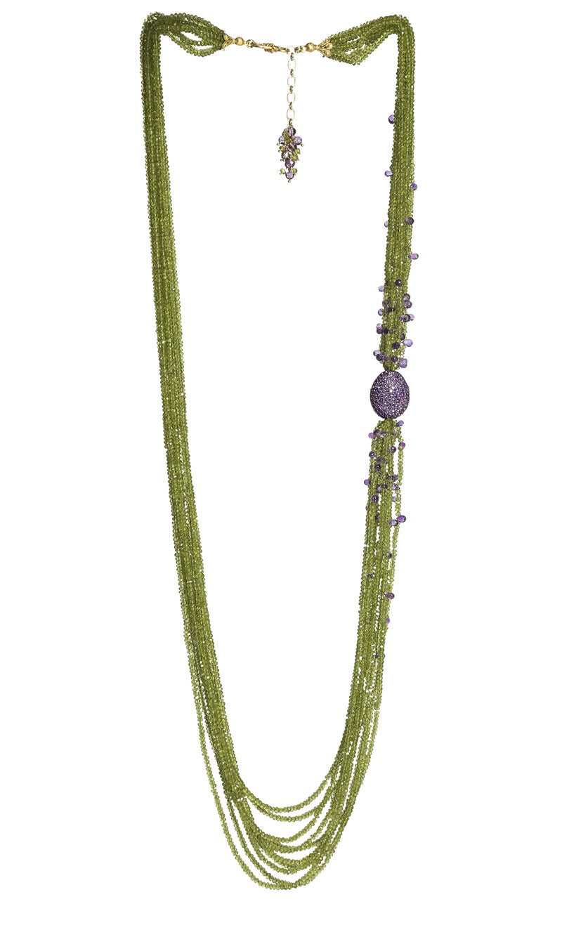 Long Multi-Strand Faceted Peridot & Amethyst Necklace with Amethyst Pave Bead
