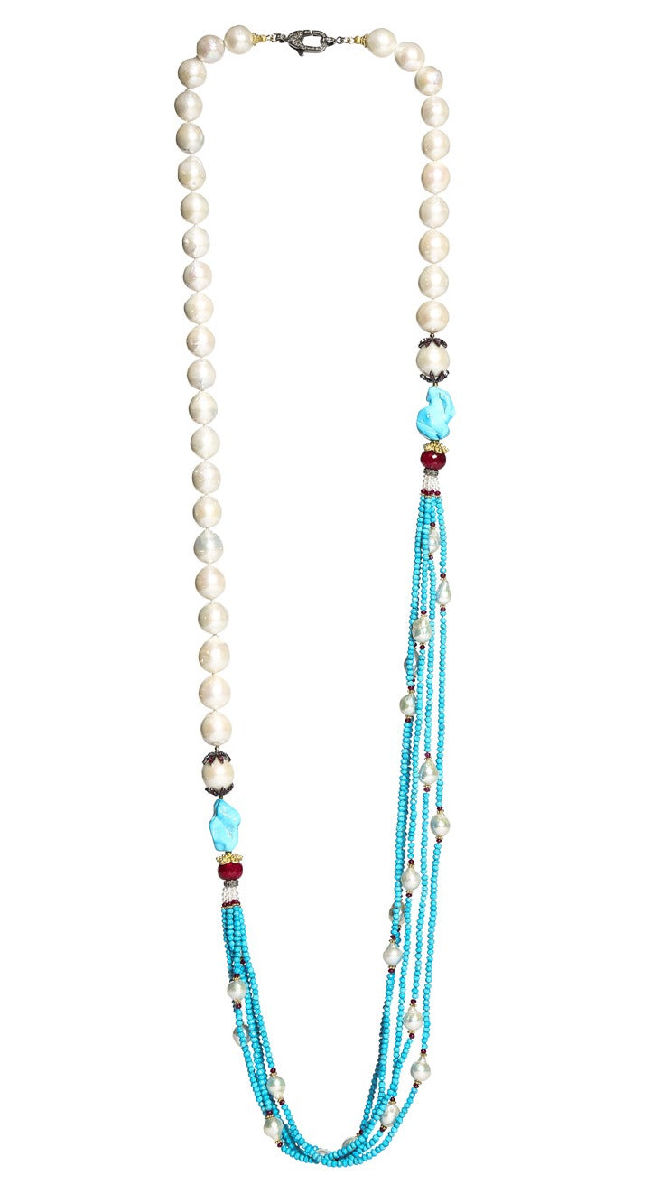 Long Multi-Strand Faceted Turquoise Necklace with Akoya Pearl, Ruby and Diamonds Accents