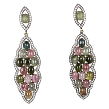 Load image into Gallery viewer, Long Multi Tourmaline Cabochon Earrings