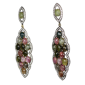 Long Multi Tourmaline Cabochon Earrings