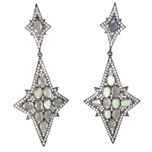 Long Star Faceted Labradorite Earrings - DIDAJ