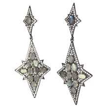 Load image into Gallery viewer, Long Star Faceted Labradorite Earrings - DIDAJ