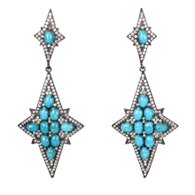 Load image into Gallery viewer, Long Star Turquoise Cabochon Earrings
