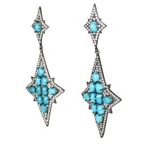 Long Star Turquoise Cabochon Earrings