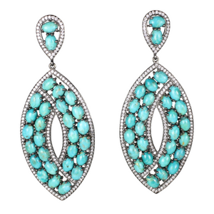 Long Turquoise Cabochon Earrings