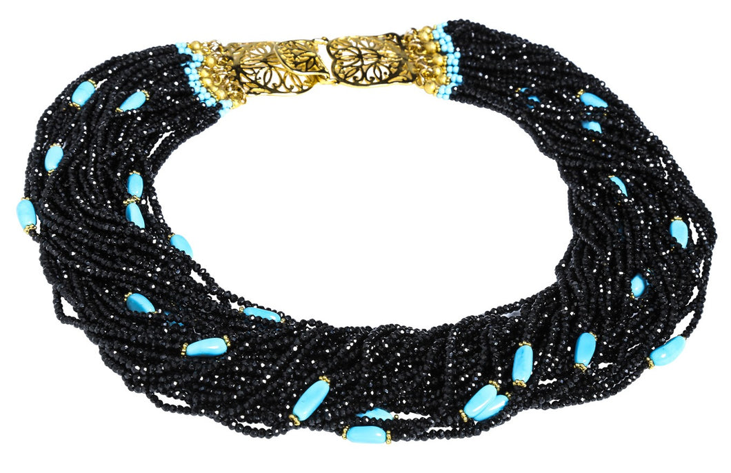 Multi-Strand Black Faceted Spinel and Arizona Sleeping Beauty Turquoise Necklace