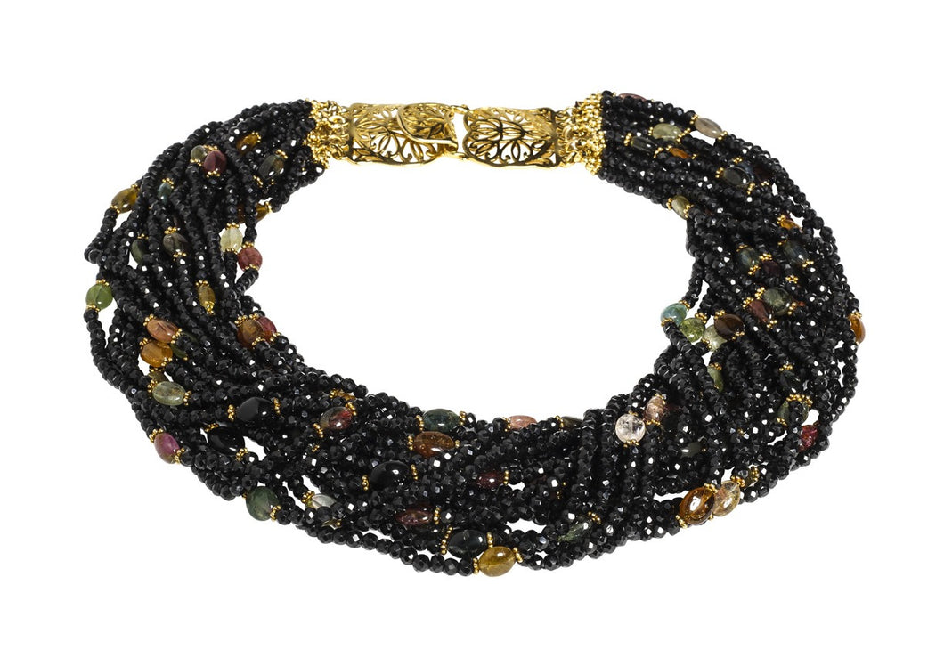 Multi-Strand Black Faceted Spinel and Multi-Color Tourmaline Cabochon Necklace