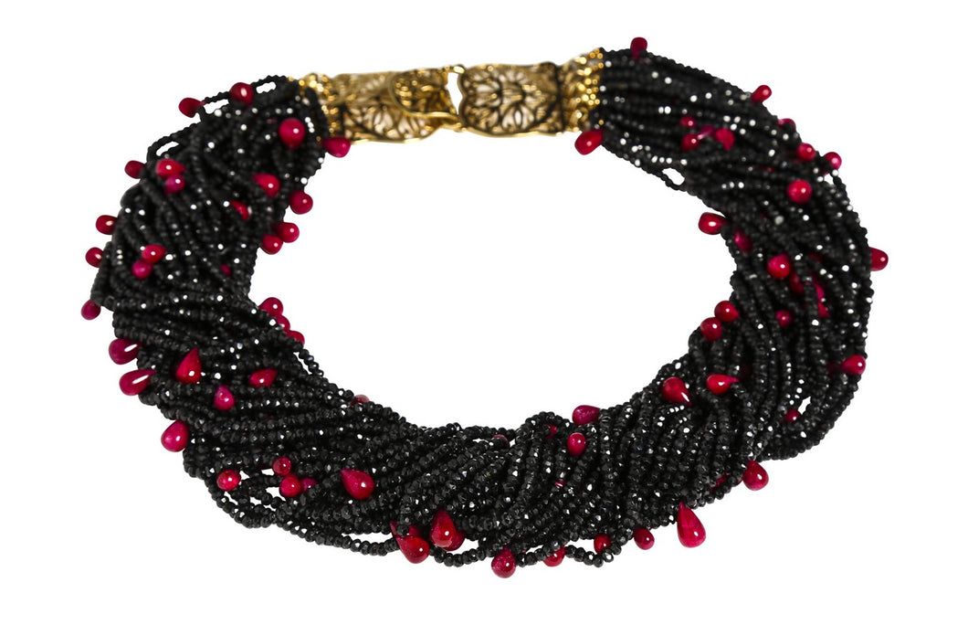 Multi-Strand Black Faceted Spinel and Ruby Cabochon Teardrops Necklace