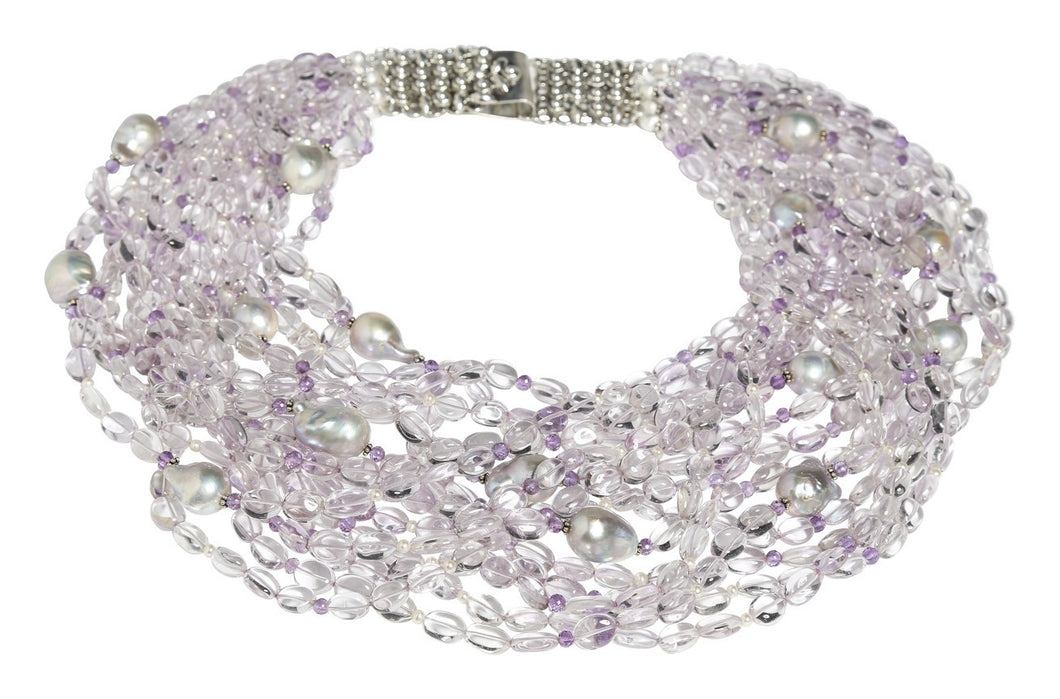 Multi-Strand Cabochon & Faceted Pink Amethyst Necklace with Baroque Pearl - DIDAJ