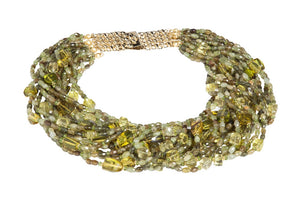Multi-Strand Faceted Green Garnet, Peridot, Lemon Quartz and Olive Green Columbian Amber Necklace