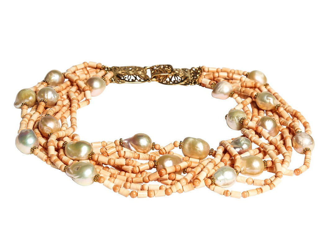 Multi-Strand Italian Carniola and Natural Peach Baroque Pearl Necklace