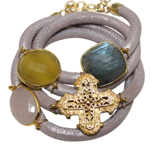 Load image into Gallery viewer, Natural Beige Italian Wrap Leather Bracelet With Faceted Labradorite, Pink & Yellow Chalcedony, and Cross