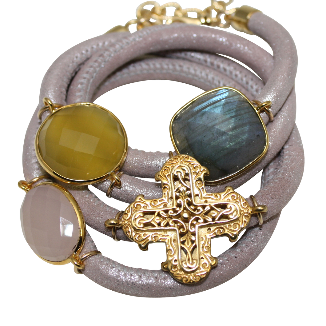 Natural Beige Italian Wrap Leather Bracelet With Faceted Labradorite, Pink & Yellow Chalcedony, and Cross