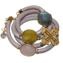 Load image into Gallery viewer, Natural Beige Italian Wrap Leather Bracelet With Labradorite, Pink & Yellow Chalcedony, and Cross - DIDAJ
