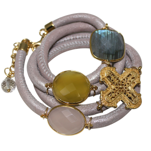 Natural Beige Italian Wrap Leather Bracelet With Labradorite, Pink & Yellow Chalcedony, and Cross - DIDAJ