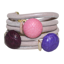 Load image into Gallery viewer, Natural Beige Snake Italian Wrap Leather Bracelet With Pink, Lavender and Burgundy Crocodile