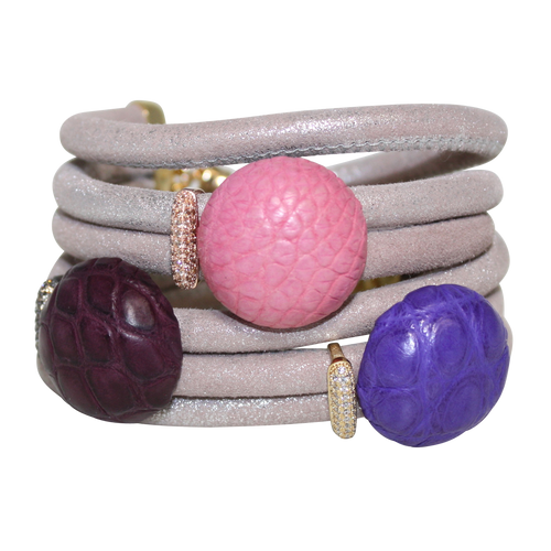 Natural Beige Snake Italian Wrap Leather Bracelet With Pink, Lavender and Burgundy Crocodile - DIDAJ