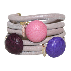 Natural Beige Snake Italian Wrap Leather Bracelet With Pink, Lavender and Burgundy Crocodile