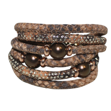 Load image into Gallery viewer, Natural Python & Brown Snake Italian Wrap Leather Bracelet With Chocolate Mother of Pearl