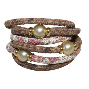 Natural Python & Coral Snake Italian Wrap Leather Bracelet With Gold Mother of Pearl