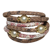 Load image into Gallery viewer, Natural Python & Coral Snake Italian Wrap Leather Bracelet With Gold Mother of Pearl