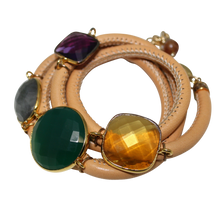 Load image into Gallery viewer, Natural Tan Italian Wrap Leather Bracelet With Faceted Green Onyx, Labradorite, Amethyst & Citrine Quartz