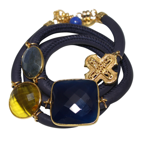 Navy Blue Italian Wrap Leather Bracelet With Faceted Blue Onyx, Labradorite, Citrine Quartz & Cross - DIDAJ